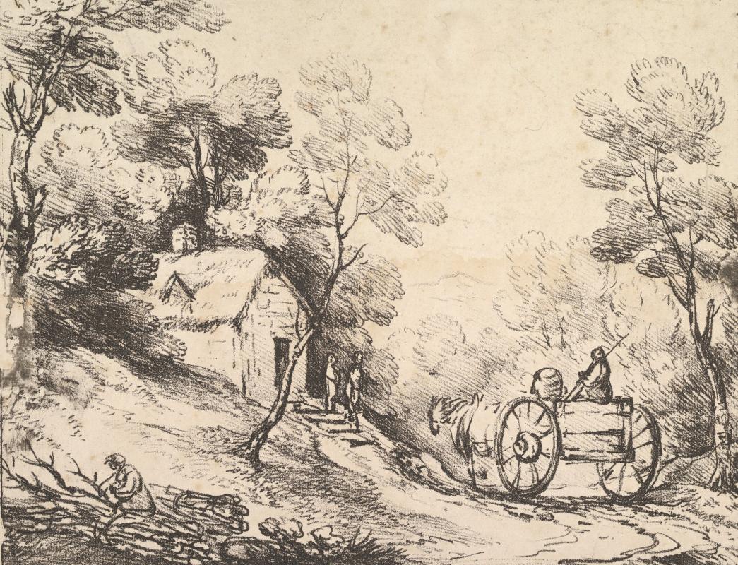 Томас Гейнсборо. Лесной пейзаж с повозкой и крестьянским домом
