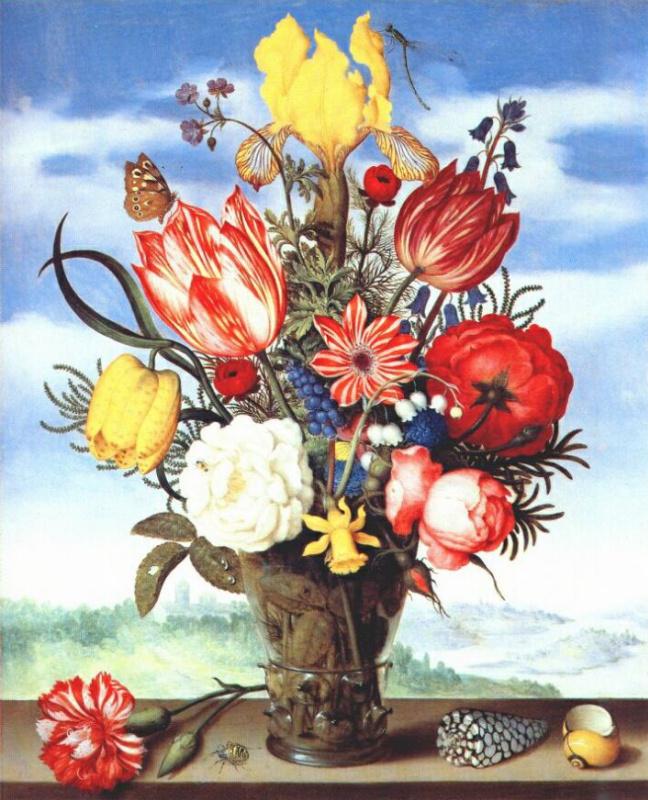 Амброзиус Босхарт Старший. Букет цветов на выступе