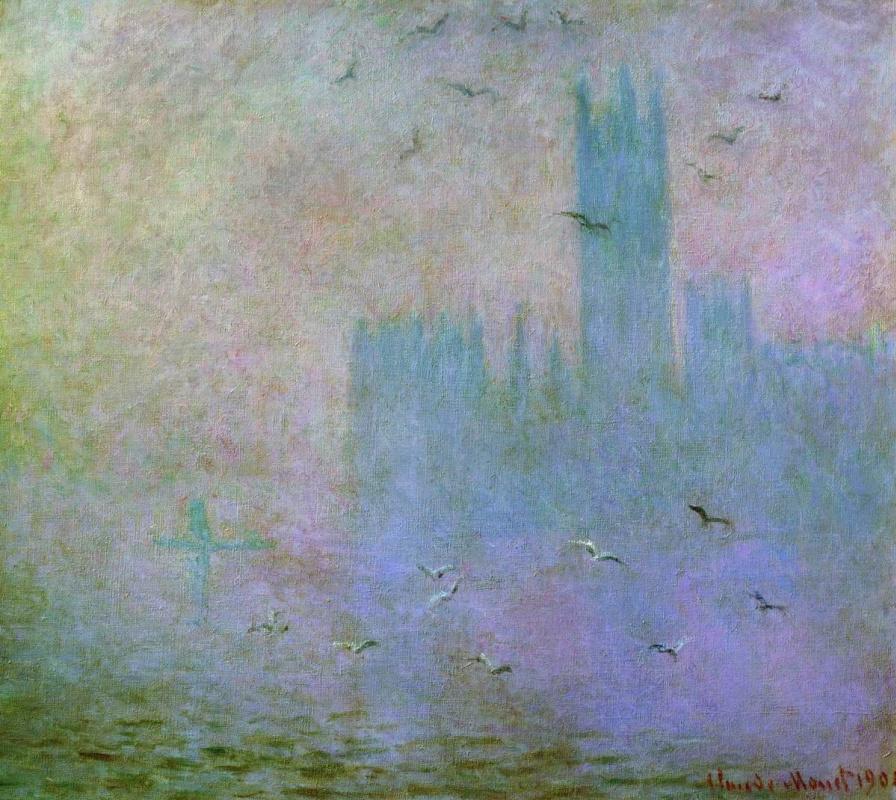 Клод Моне. Чайки. Река Темза в Лондоне. Здание парламента