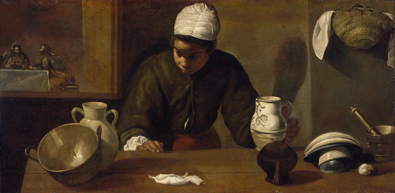 """Diego Velazquez. Kitchen maid with """"Dinner at Emmaus"""""""