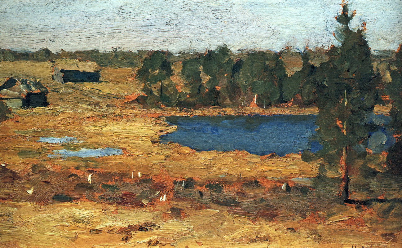 Исаак Ильич Левитан. Озеро. Сараи у лесной опушки