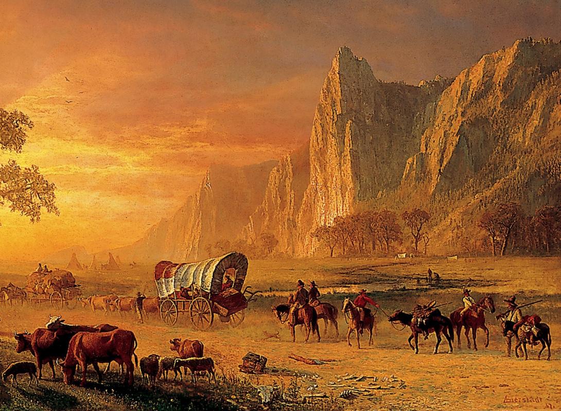 Альберт Бирштадт. Переселенцы, пересекающие равнины. Фрагмент