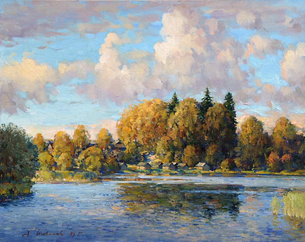 Alexander Victorovich Shevelyov. Kamenka,evening.Oil on canvas 40 # 50 cm 2006