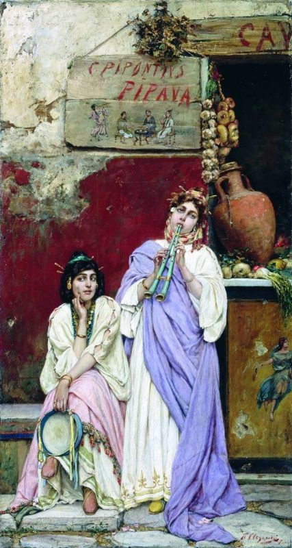 Pavel Alexandrovich Svedomsky. Two Romans with a tambourine and flute