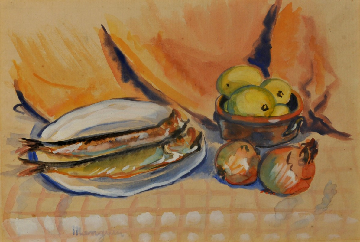 Henri Manguin. Still life with fish and onions