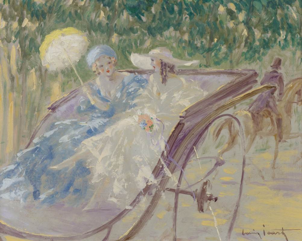 Icarus Louis France 1888 - 1950. Two elegant ladies in a carriage. Private collection