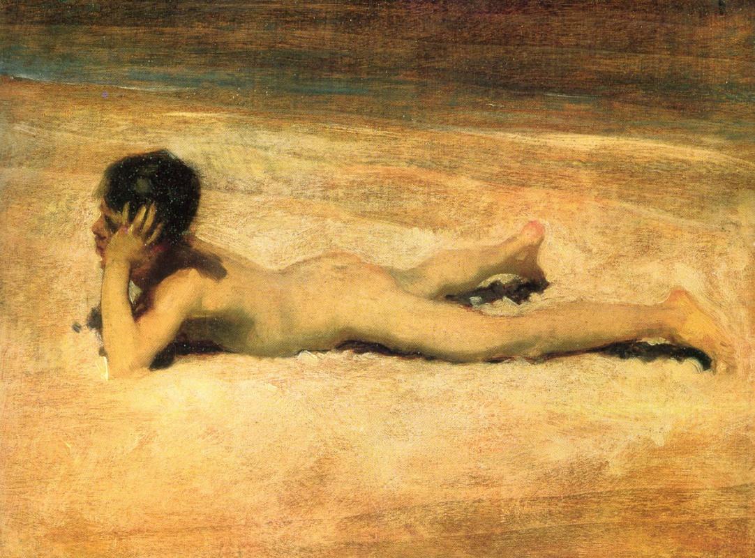 Джон Сингер Сарджент. Обнаженный мальчик на пляже