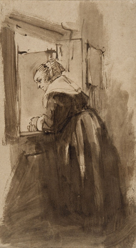 Rembrandt Harmenszoon van Rijn. The woman standing at the window