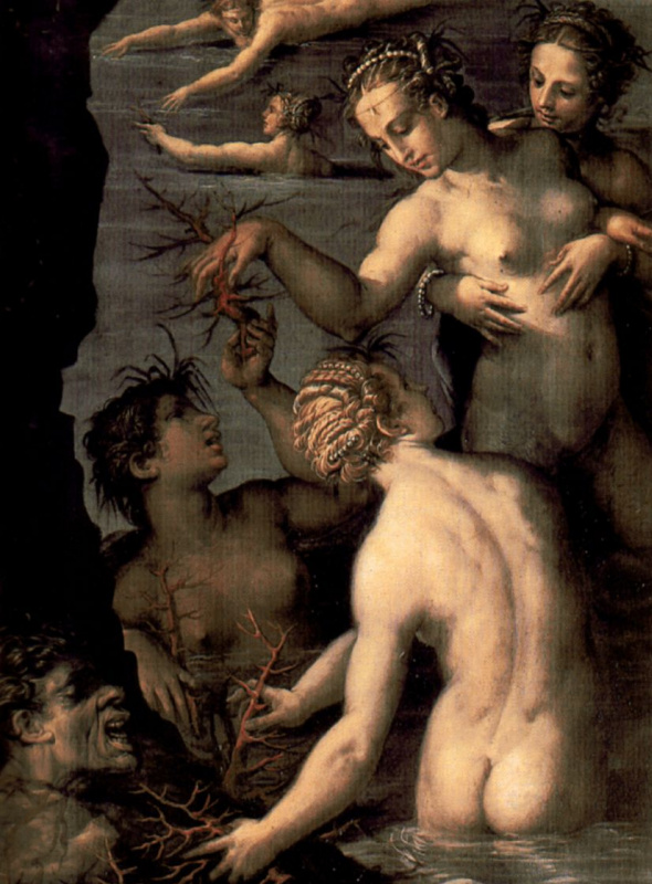 Giorgio Vasari. Perseus and Andromeda, fragment, coral, born from the blood of Medusa