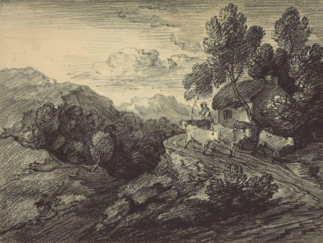Thomas Gainsborough. Shepherd with flock near cottage