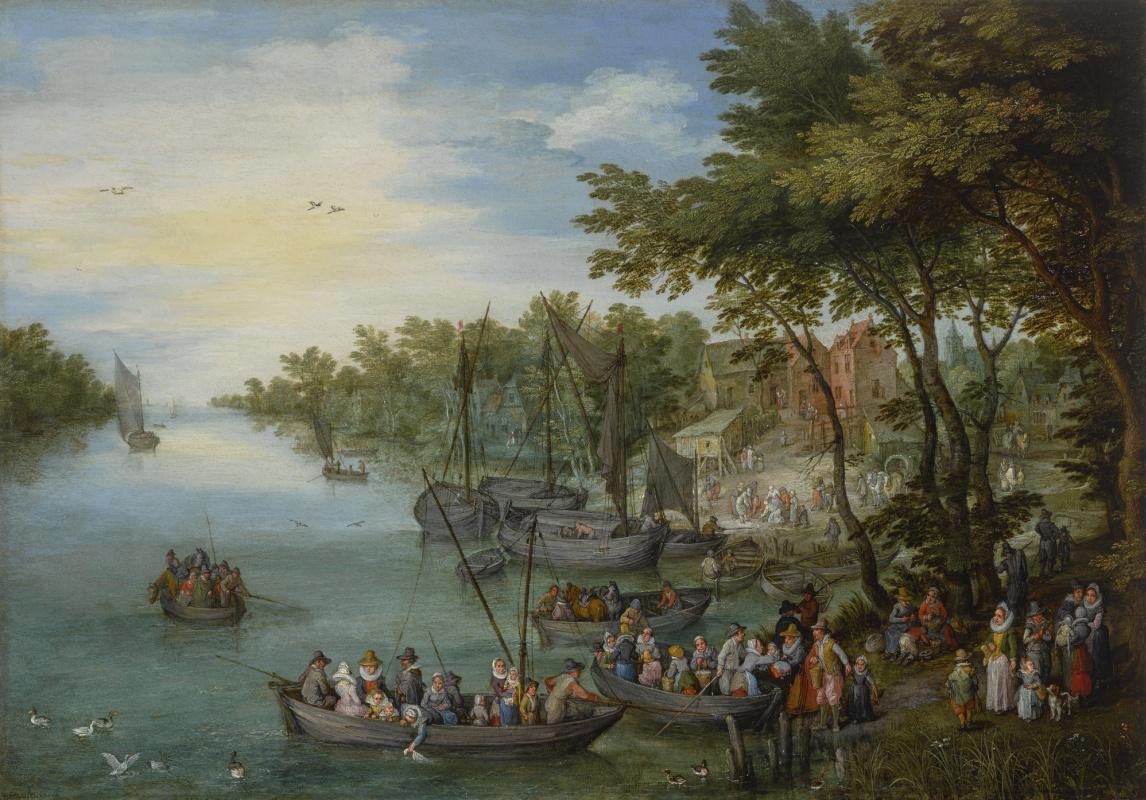 Ян Брейгель Старший. Лесистый речной пейзаж с пристанью, лодками и деревней вдали
