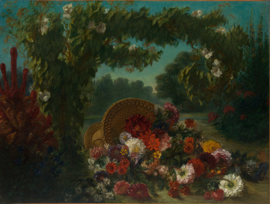Eugene Delacroix. Basket with flowers