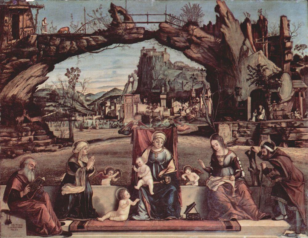 Витторе Карпаччо. Мадонна на троне и Иоанн Креститель, слева: св. Иосиф и св. Анна, справа: св. Елизавета и св. Захария