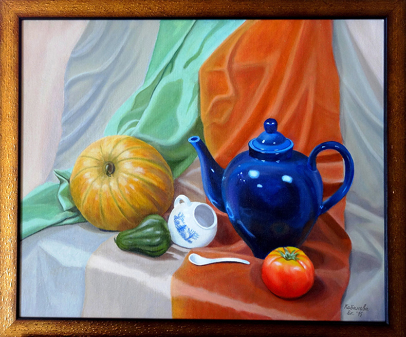 Ekaterina Kabanova. Still life with a blue kettle from nature