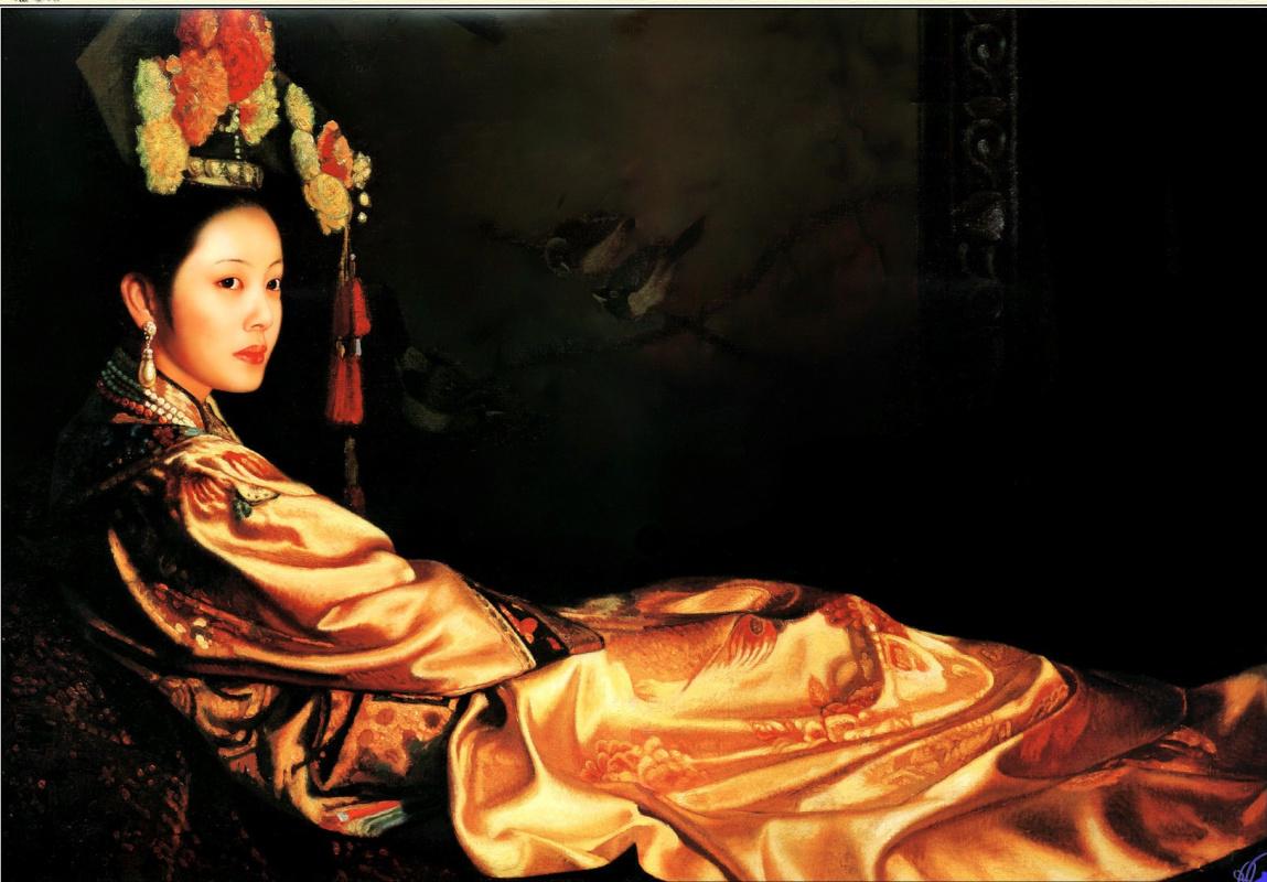 Guo Fang. Woman in luxurious dress