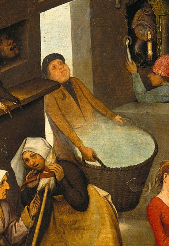 Pieter Bruegel The Elder. Flemish proverbs. Fragment: Carrying air (steam, light) in baskets - wasting time