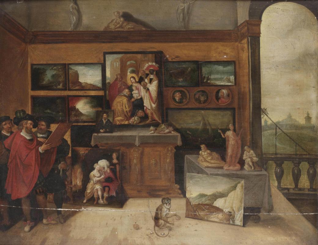 Франс Франкен Младший. Интерьер галереи с ценителями искусства