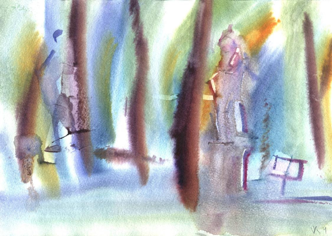 Вячеслав Крыжановский. In the summer garden. Study # 1