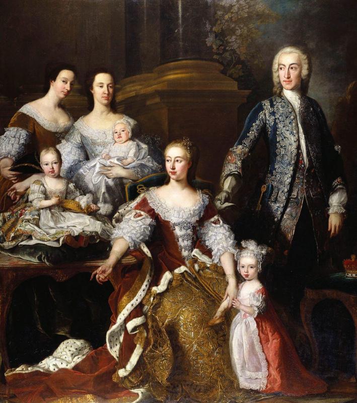 Жан-Батист ван Лоо. Августа Саксен-Готская, принцесса Уэльская, с семьей и прислугой