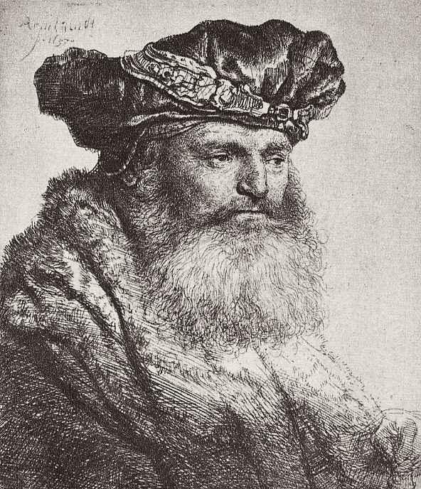 Рембрандт Ван Рейн. Портрет бородатого мужчины в берете с аграфом