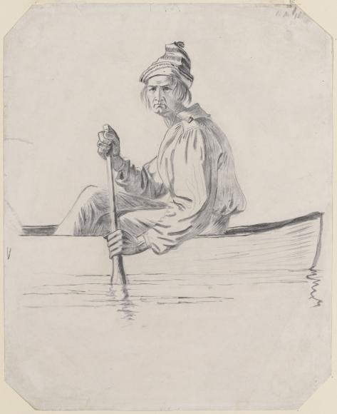 Джордж Калеб Бингем. Рисунок к картине «Торговцы пушниной на реке Миссури»