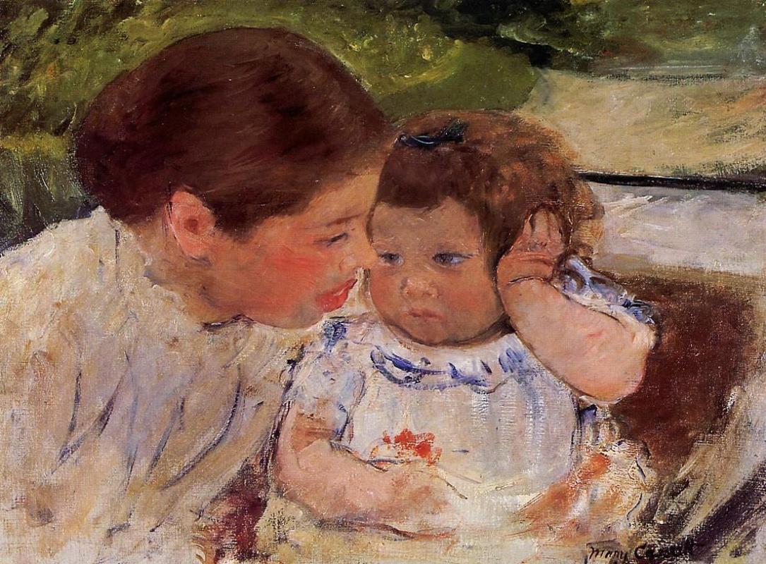 Mary Cassatt. Susan comforting the baby