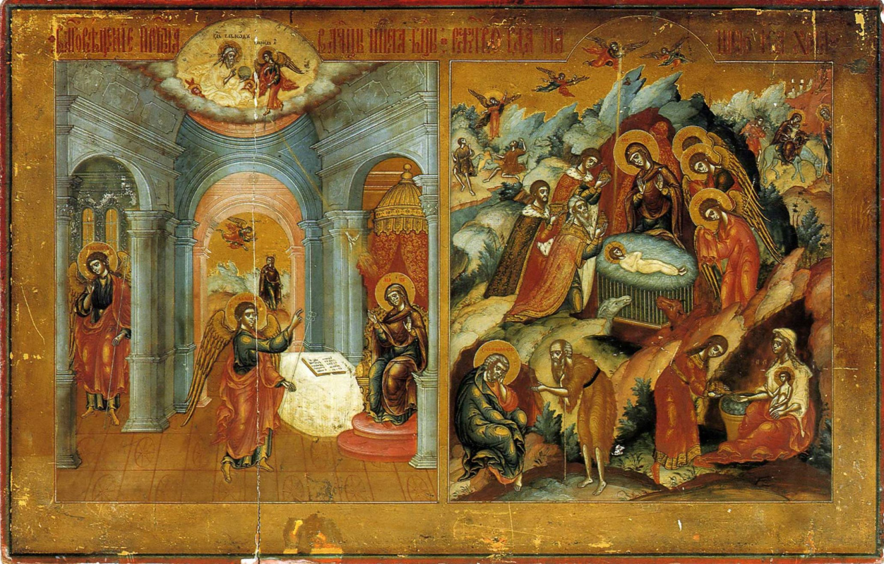 Icon Painting. Annunciation. Christmas (Nevyansk, workshop Bogatyrevs)