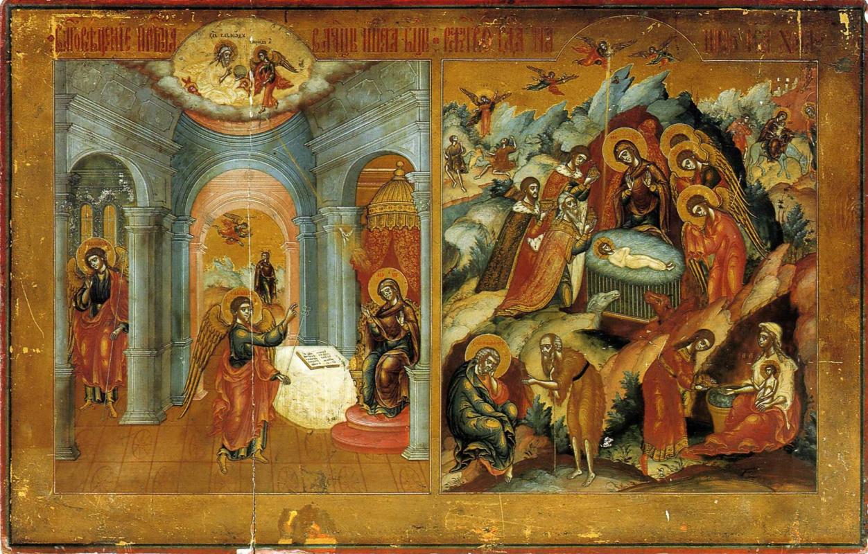 Icon Painting. Annunciation. Christmas (Nevyansk, workshop Bogatyrevs)