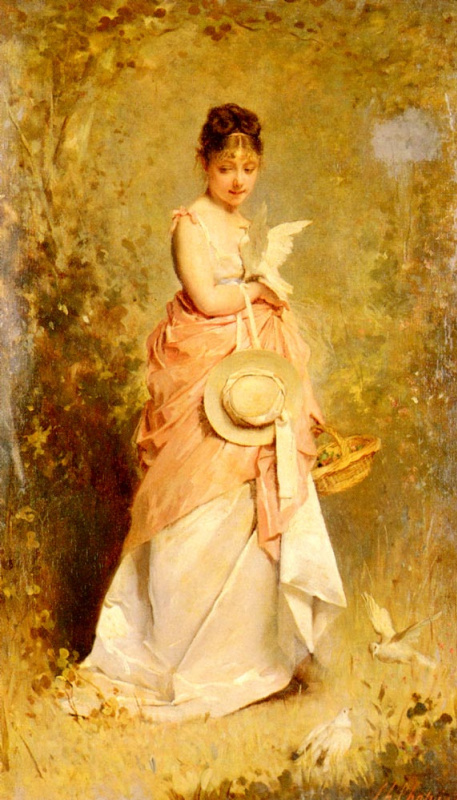Чарльз Чаплин. Молодая девушка с голубями