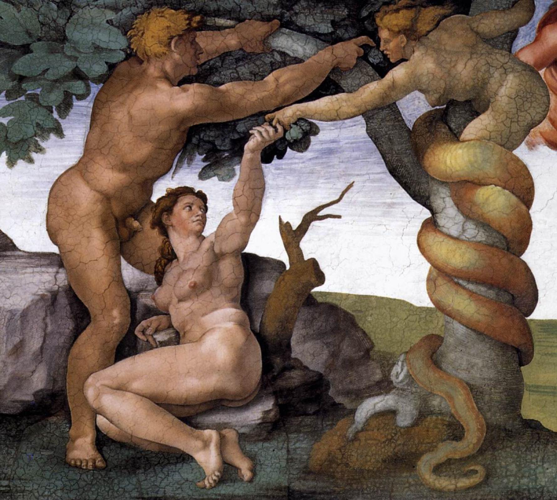 Микеланджело Буонарроти. Грехопадение и изгнание из Эдемского Сада. (Фрагмент)