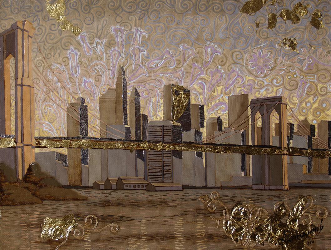 "Алексей Петрович Акиндинов. Sky over Manhattan from the quadriptych ""My New York"""