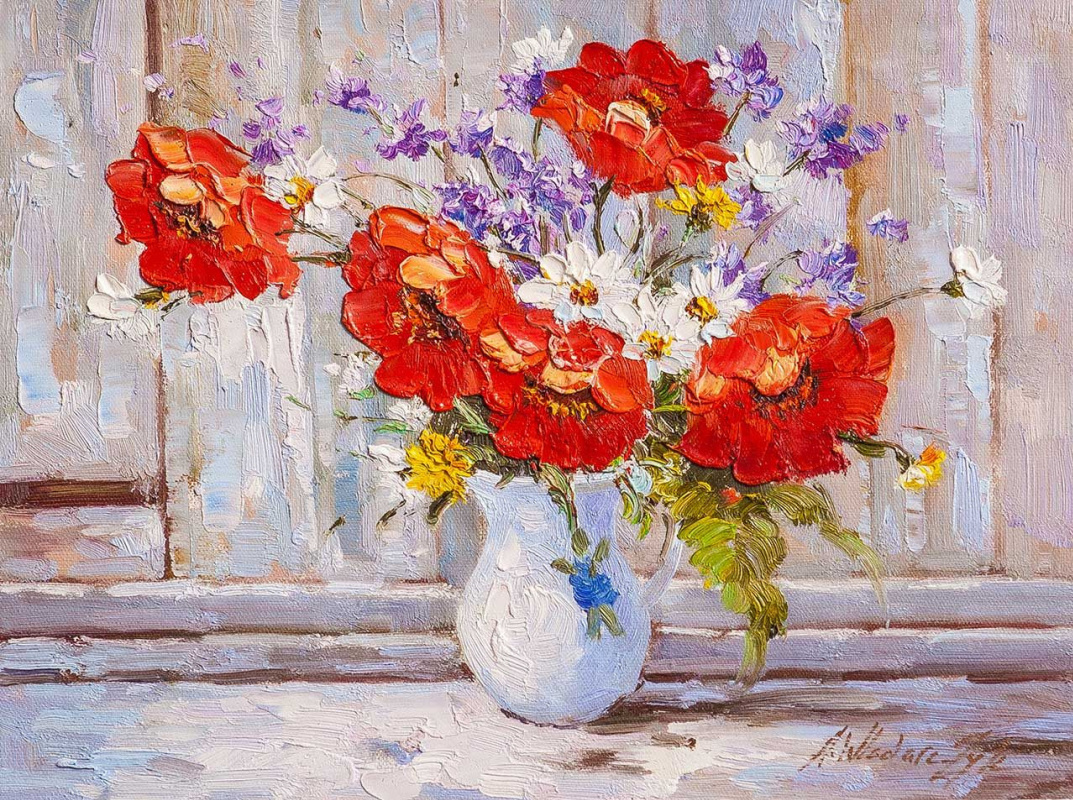 Andrzej Vlodarczyk. Bouquet with poppies in a white jug N2