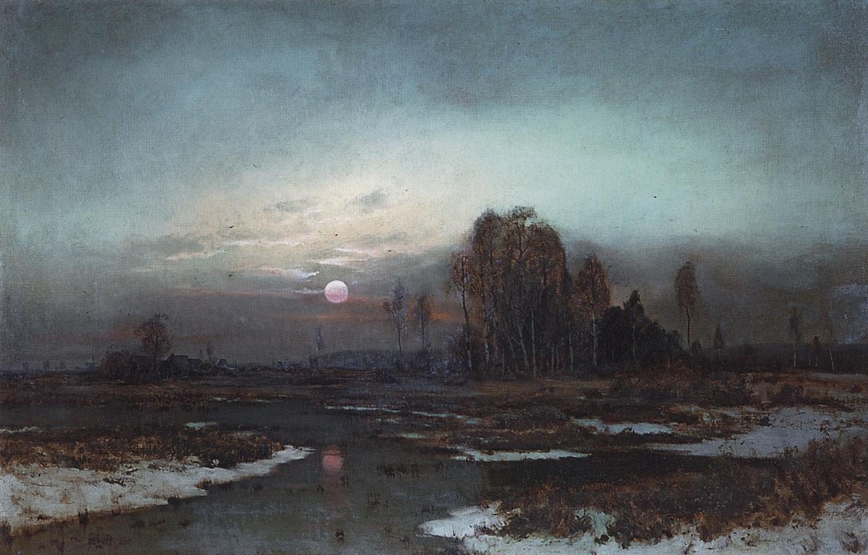 Алексей Кондратьевич Саврасов. Осенний пейзаж с заболоченной рекой при луне