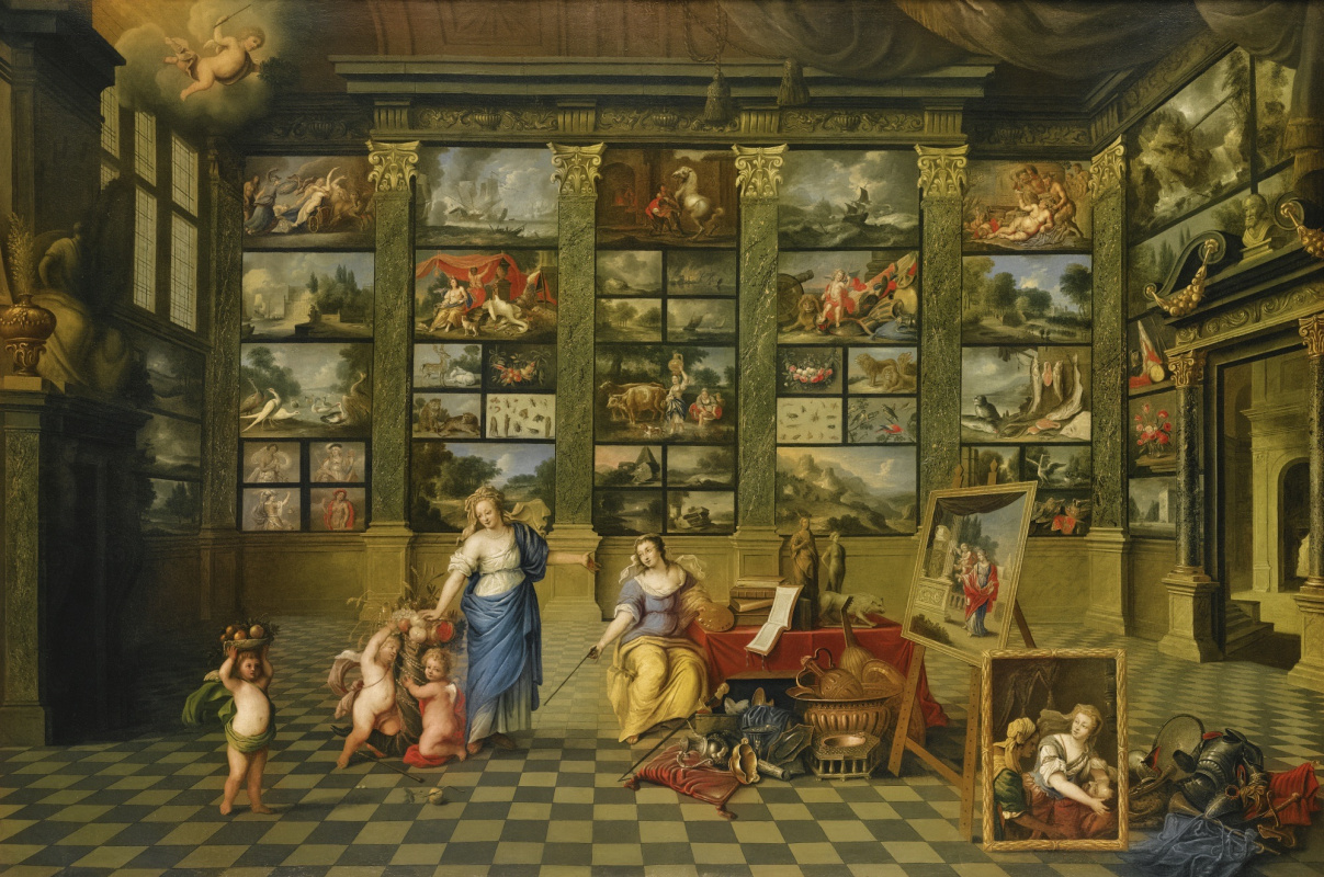 Flemish school. Allegorical figures of Nature and Painting in the interior of the art gallery