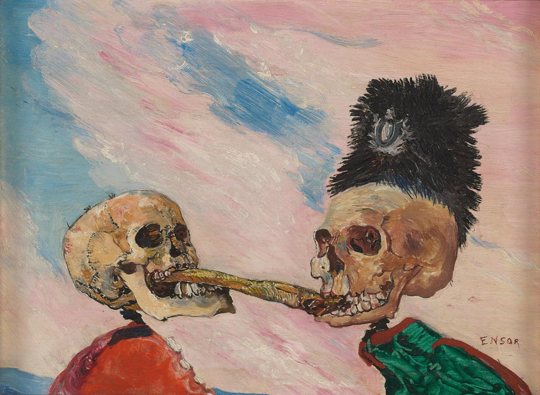 James Ensor. Skeletons fighting over a smoked herring