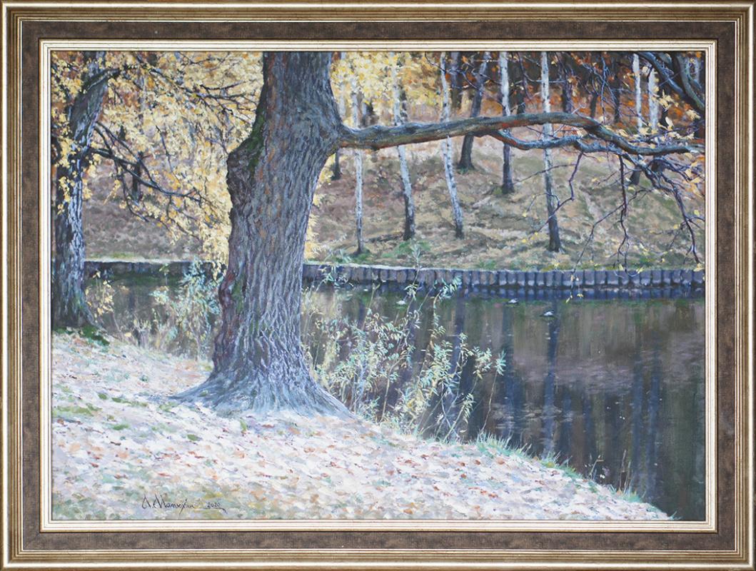 Alexander Matyukhin. Oak at the dam. Teply Stan (50x69 cm)