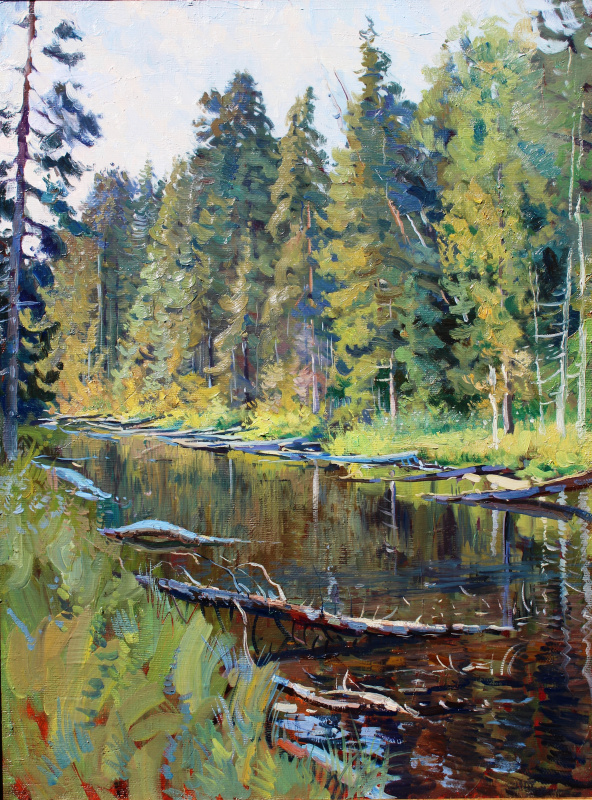 Eugene Butch. Stream in the forest