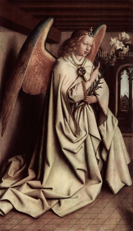 Хуберт ван Эйк. Гентский алтарь, алтарь мистического агнца, левая створка внешняя сторона, центральная сцена: Благовествующий ангел