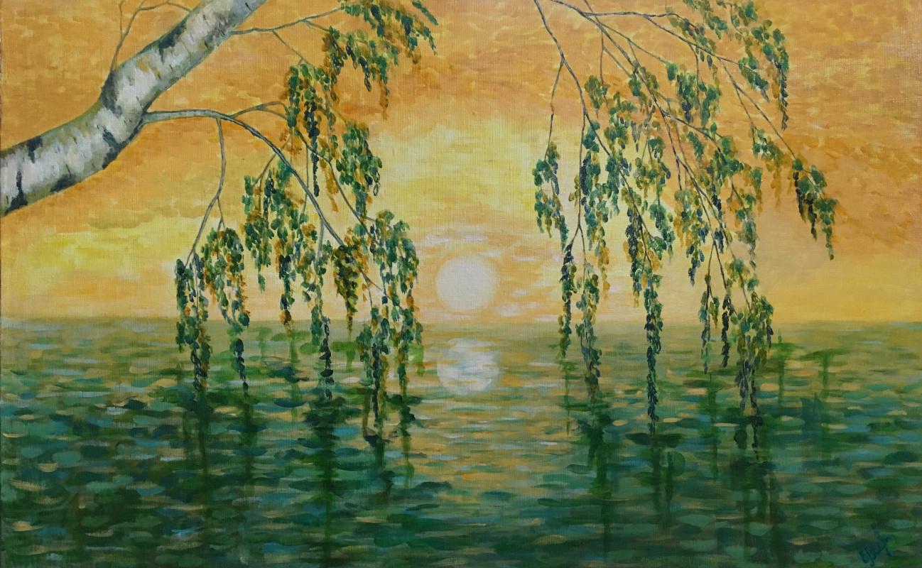 Elena Vasilyeva. Dawn, birch and water