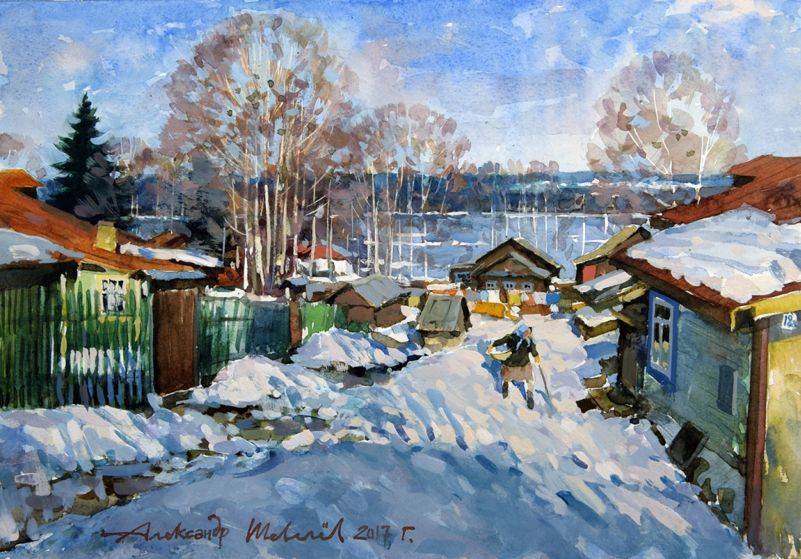 Alexander Shevelyov. March in Plyos. Paper, watercolor, white, 27,5 x 39,5 cm 2017