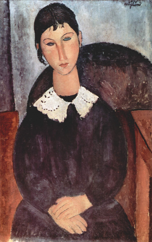 Amedeo Modigliani. Elvira. Portrait of a girl with white collar