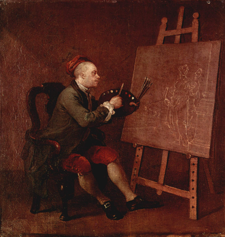 William Hogarth. Self-portrait in front of easel working on a painting of the Muse of Comedy Waist