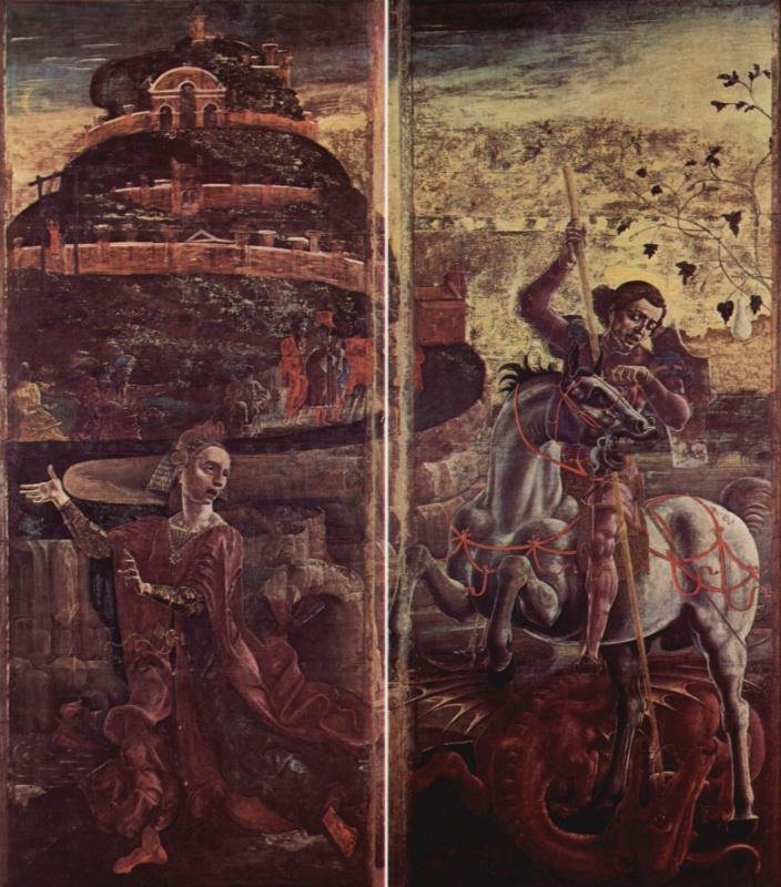 Козимо Тура. Четыре створки органа Феррарского собора со св. Георгием и благовещением. Принцесса и св. Георгий, побеждающий дракона