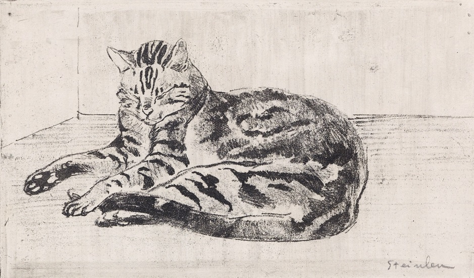 Theophile-Alexander Steinlen. Napping tabby cat