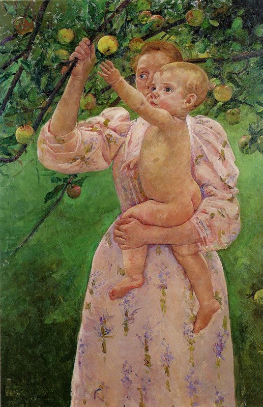 Mary Cassatt. The child plucks the fruit