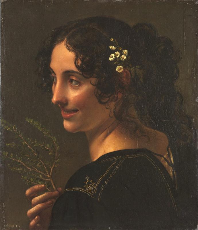 Orest Adamovich Kiprensky. Gypsy woman with a myrtle branch in her hand