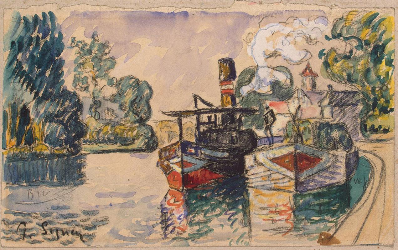 Paul Signac. Tugboat and barge in Samois
