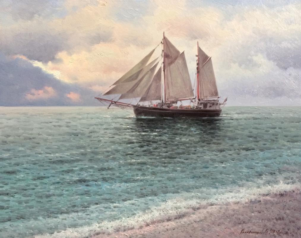 Vasily Ivanovich Gribennikov. Sea view with schooner