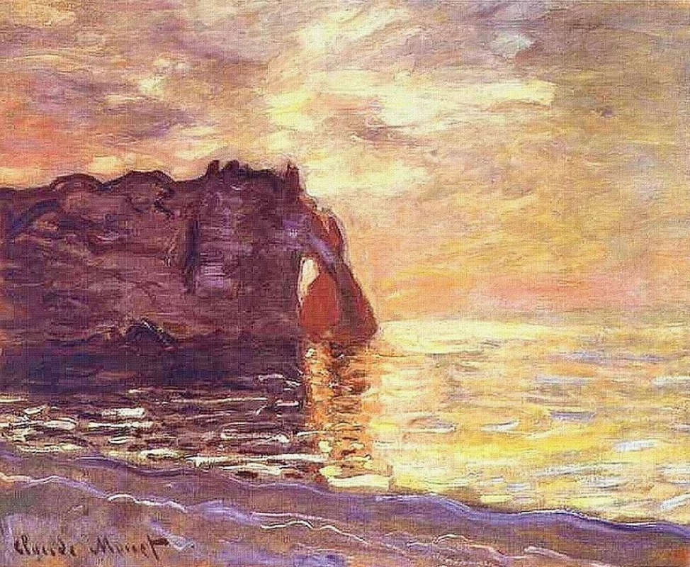 Claude Monet. Etretat, cliff of d Aval Sunset