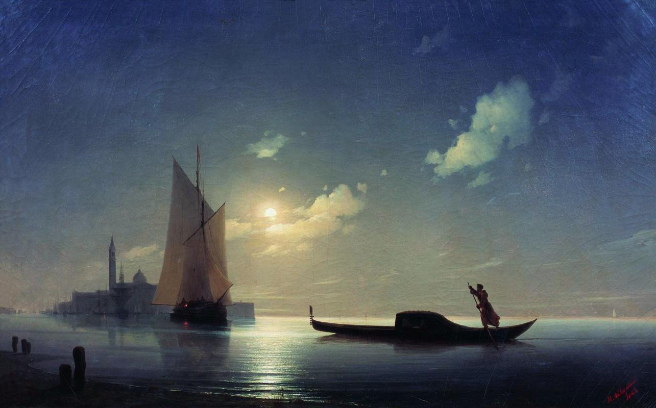 Ivan Aivazovsky. Gondolier at sea by night